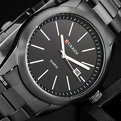 Original Curren Titanium Black Men Military Sports Watches Quartz Fashion Watch