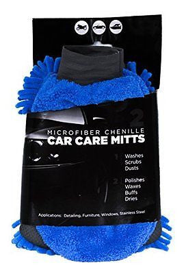 Car Wash Mitt & Duster - Deluxe Car Accessories Gift Set (Blue)