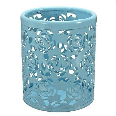 Hollow Rose Flower Pattern Cylinder Pen Pencil Pot Holder Container Organizer