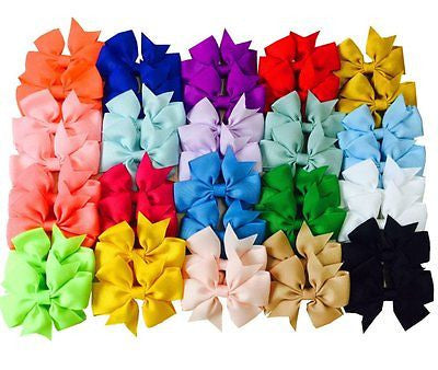 "40pcs Kids Baby Girls 3"" Alligator Clip Ribbon 20 Pairs Hair Bows Clips"