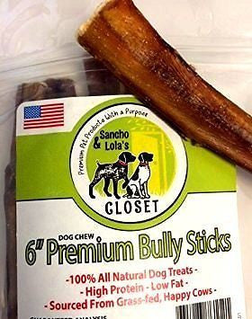 "6"" Bully Sticks for Dogs Made in USA~Grass-Fed, Kosher AMERICAN Beef"