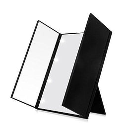 FLYMEI? Premium Tri-Fold Led Lighted Travel Makeup Mirror (Black)