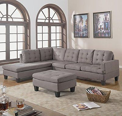 Divano Roma Furniture 3-Piece Reversible Chaise Sectional Sofa with Ottoman