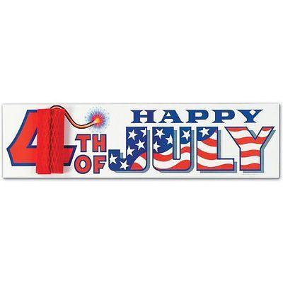 Happy 4th Of July Sign w/Tissue Firecracker Party Accessory (1 count) (1/Pkg)