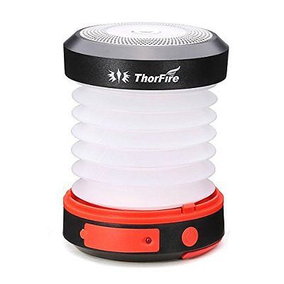 ThorFire Solar LED Camping Lantern USB Rechargeable Flashlight Torch Mini Lamp