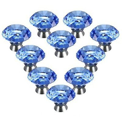 10 pcs Cupboard Handle Pull Crystal Glass Cabinet Knob Diamond Shape Drawer 30mm