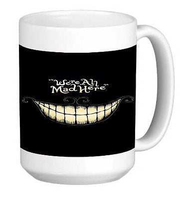 We're All Mad Here Cheshire Cat  Pattern Print  Ceramic Coffee Mug Tea Cup