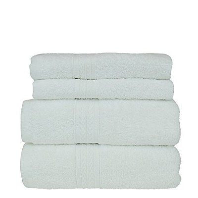 Eco Cotton 4 Piece Towel Bundle Set - Dobby Border - Two Hand Towels