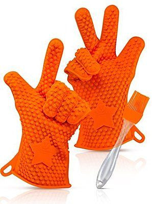 KITCHENEED NEW Barbecue Grilling Cooking Gloves - Heat Resistant Silicone BBQ