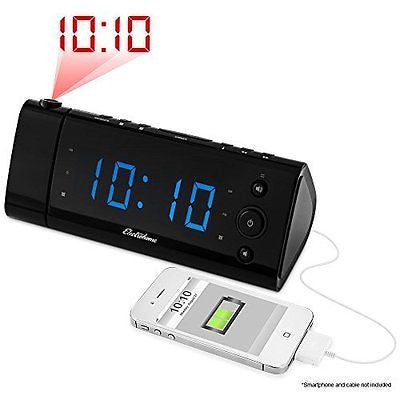 Electrohome USB Charging Alarm Clock Radio with Time Projection, Battery Backup
