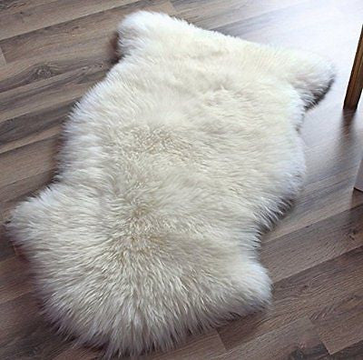 Genuine Australian Sheepskin Rug One Pelt Ivory Natural Fur, Single