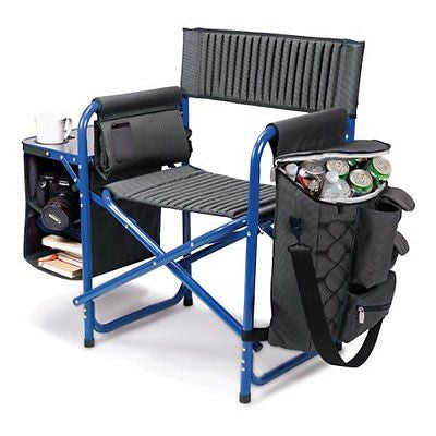 Picnic Time Fusion Folding Chair, Gray with Blue Frame