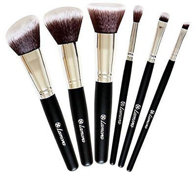 Travel Makeup Brush Set - Professional Kit with 6 Essential Face and Eye Makeup