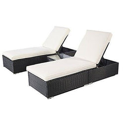 3 Pcs Wicker Outdoor Furniture Pool Chaise Lounge Chair with Table Black