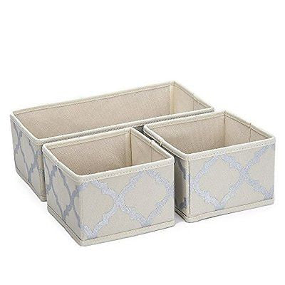 Foldable Storage Drawer Closet Dresser Organizer Bins - 3 Piece Set -  Beige