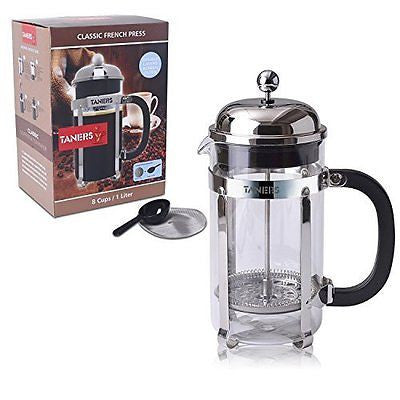 French Press Coffee Espresso Maker 34oz/8 Cups by TANERS Strengthened Heat