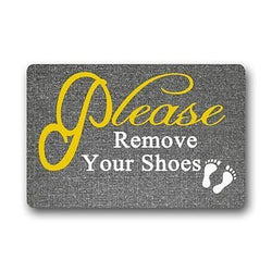 Custom Machine-washable Door Mat Please remove your shoes