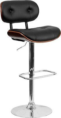 Flash Furniture Walnut Bentwood Bar Stool Button Tufted Black Vinyl Upholstery