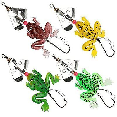 JSHANMEI ? 8pcs/pack Topwater Frog Fishing Lures Set 3D Fishing Eyes Rubber Frog