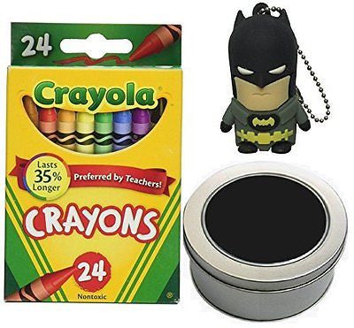 Batman USB Flash Drive 8GB and Crayola 24 Count Crayons Bundle