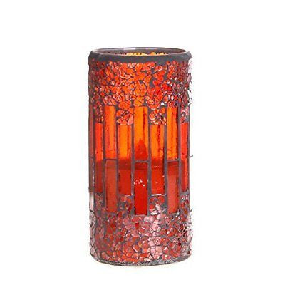 Home impressions Crack Glass Flameless Pillar Led Wax candle Light with Timer