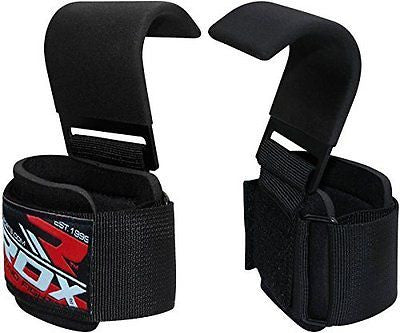 RDX Weight Lifting Gym Hook Strap Crossfit Wraps Hand Bar Bodybuilding Training