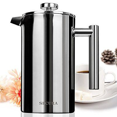 Secura Stainless Steel French Press Coffee Maker 18/10 Bonus