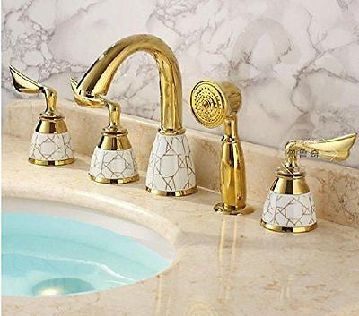 Luxury Gold-plate Bathroom 5pcs Tub Faucet Three Handles Mixer Tap Countertop