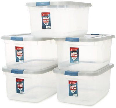 Rubbermaid 1785784 Clear Roughneck Storage Tote Box, 50-Quart, Pack of 5