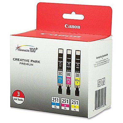 CLI-251XL 3PK 3-Ink Value Pack for Canon Photo Papers