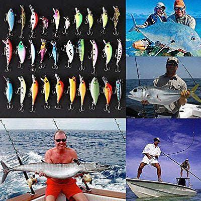 Lot 30pcs Kinds of Hard Fishing Lures Crankbaits with Hooks Minnow Baits Tackle