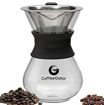 1-2 Cup 10z Carafe by Coffee Gator with Permanent Stainless Steel Filter