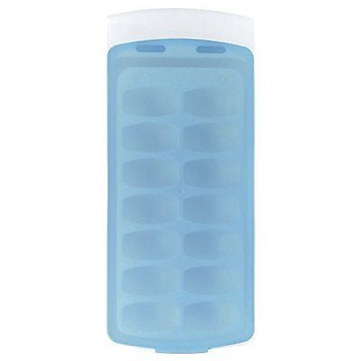 Good Grips No-Spill Ice Cube Tray with Silicone Lid 8.8 oz. White/Blue