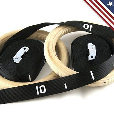 Wooden / Wood Gymnastic Rings Olympic Rings with Adjustable Straps