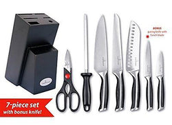 Culina? Pro 7-Piece German-steel Forged Knife Set with Wood Storage Block