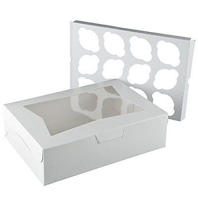 "14"" X 10"" X 4"" Window Bakery Box with 12 Cupcake Insert - 10 Count"