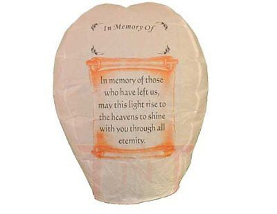 5 Each SKY Lantern -In Memory Of- US Seller -100% Biodegradable Fully Assembled