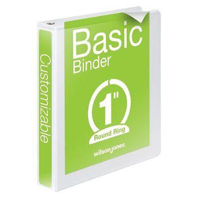 Wilson Jones Round Ring View Binder, 1 Inch, Basic, 362 Series, Customizable