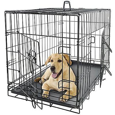 OxGord Double-Door Easy Folding Metal Pet Crate for Dogs, Cats, Rabbits - Variou