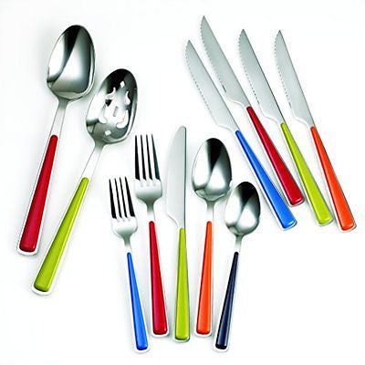 Fiesta Merengue 50 Piece Flatware Set with Steak Knives Silver