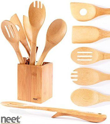 Neet? Organic Bamboo Elevated Cooking & Serving Utensils 6 Piece Set BMB-SU6