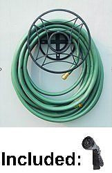Garden Hose Hanger Wall Mount Hose Holder Including Spray Nozzle- Black