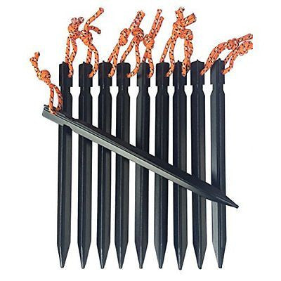 Ultralight Aluminum Tent Stakes Tent Pegs with Pull Cords & Pouch (Pack of 10)