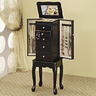 Coaster 900139 Jewelry Armoire with Flip-Top Mirror Black
