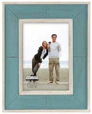 Malden Sun Washed Woods Turquoise Distressed Picture Frame, 5 by 7-Inch