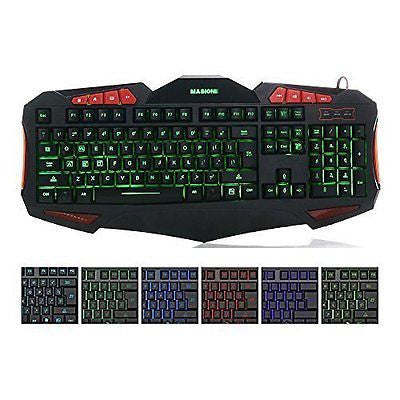 Masione Domineering LED USB Gaming Keyboard with 7 Adjustable Colorful Backlight
