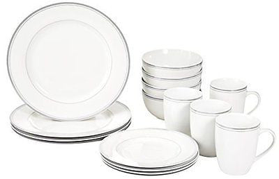 16-Piece Cafe Stripe Dinnerware Set Service for 4 - Grey