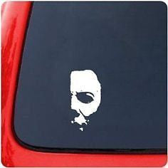 "Michael Myers Creepy Half Face 6"" White Car Truck Vinyl Decal Art Wall Sticker"