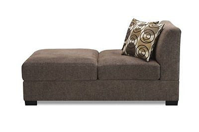 Armless Chaise with Accent Pillows in Slate Faux Linen