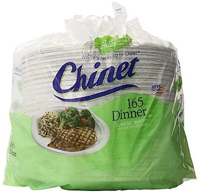 Chinet Classic White Paper Dinner Plates 10 3/8 Inch 165 Count